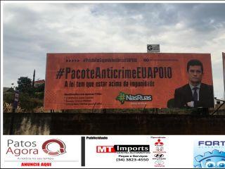 Movimento Nas Ruas Patos de Minas instala outdoors em apoio ao pacote anticrime e a prisão após segunda instância | Patos Agora - A notícia no seu tempo - http://patosagora.net