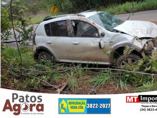 Motorista cochila e capota carro com a família na MG-410 | Patos Agora - A notícia no seu tempo - https://patosagora.net