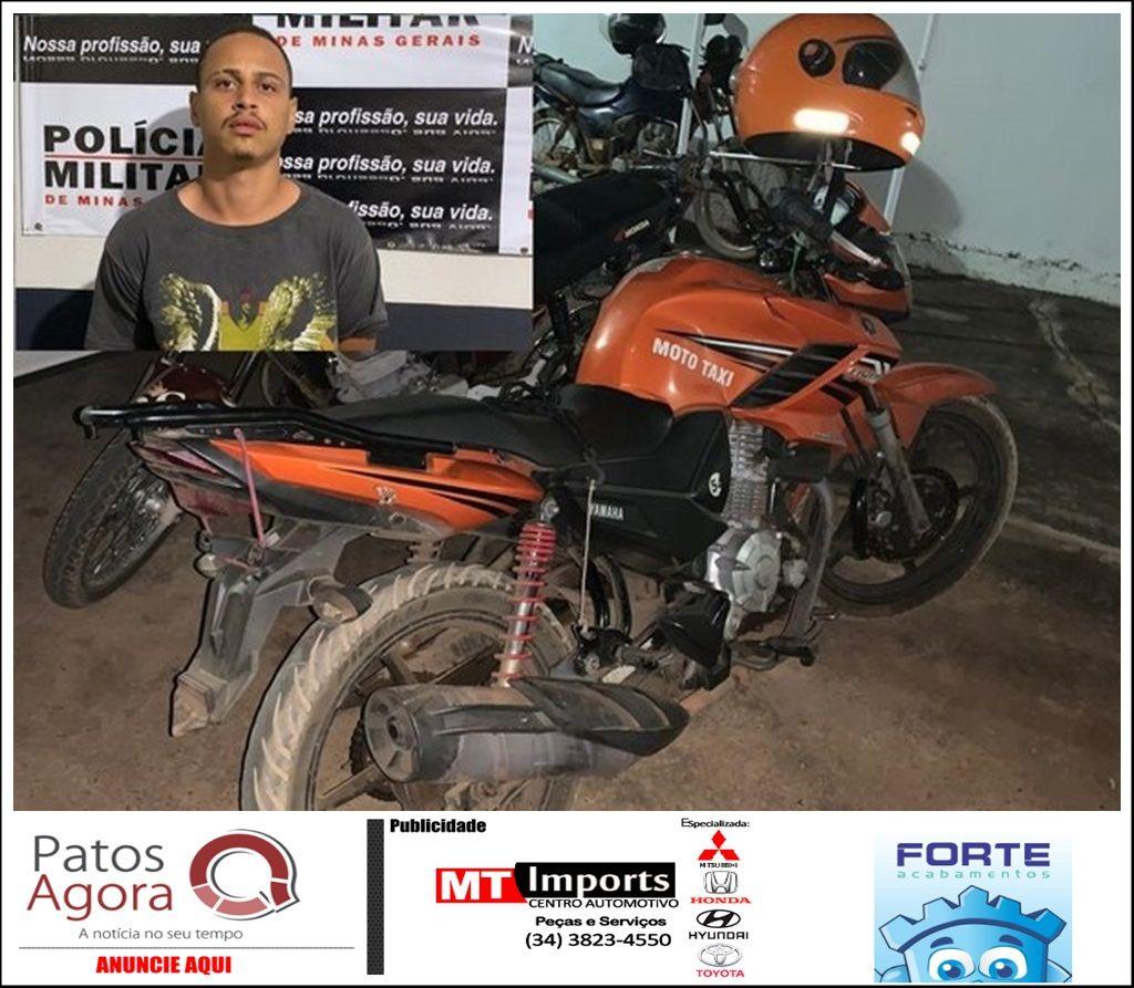 Mototaxista é assaltado durante corrida de Patos de Minas à Presidente Olegário, mas suspeito acaba preso