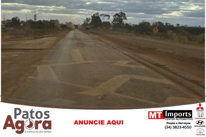 Obras na BR-354 deixa trânsito parado em vários pontos entre Patos de Minas e BR-262
