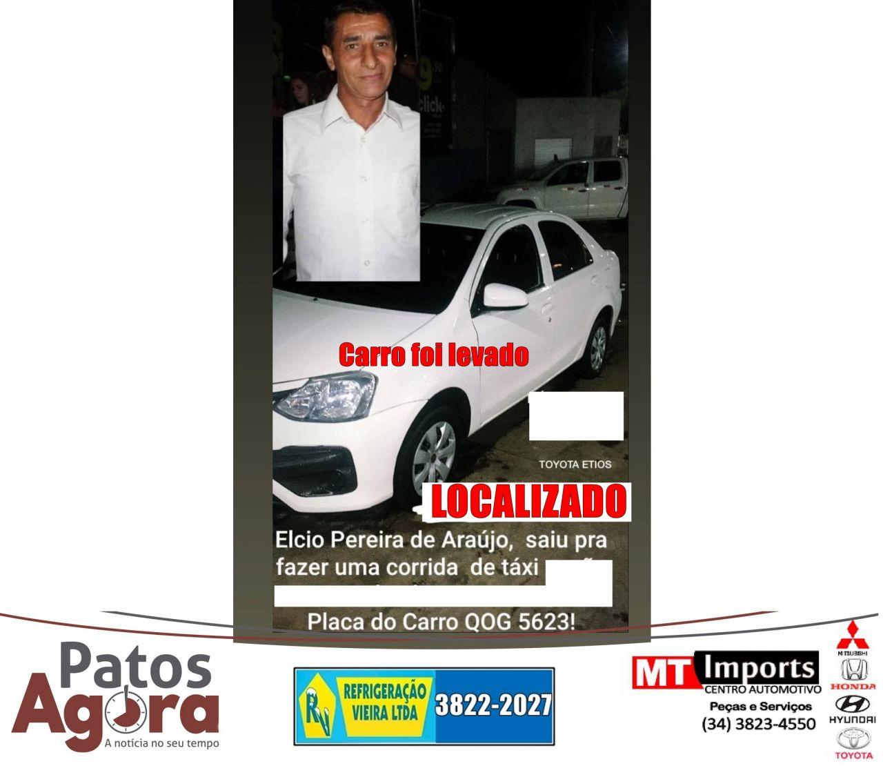 Taxista de Serra do Salitre é encontrado com vida em Presidente Olegário