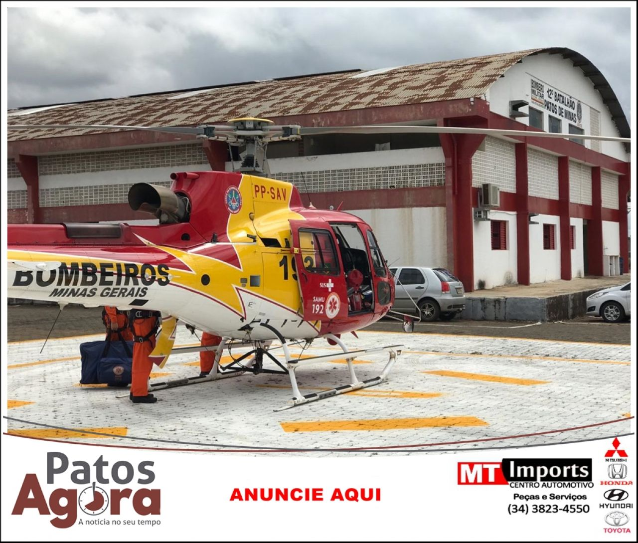 Paciente de Patos de Minas que sofreu infarto é transferido no helicóptero do Corpo de Bombeiros