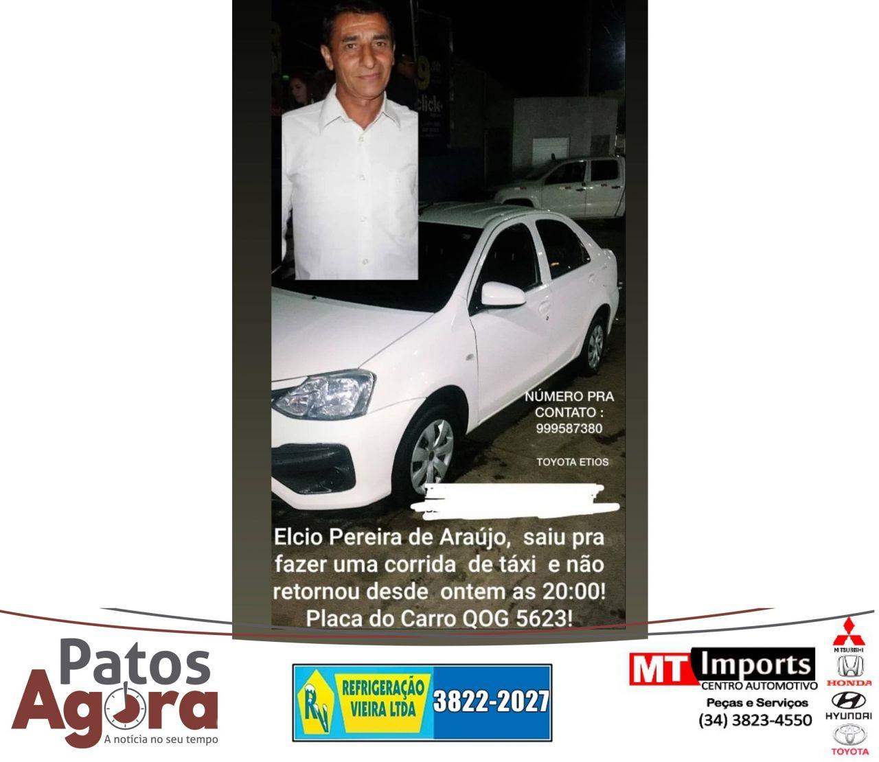 SERRA DO SALITRE: Família pede ajuda para localizar taxista