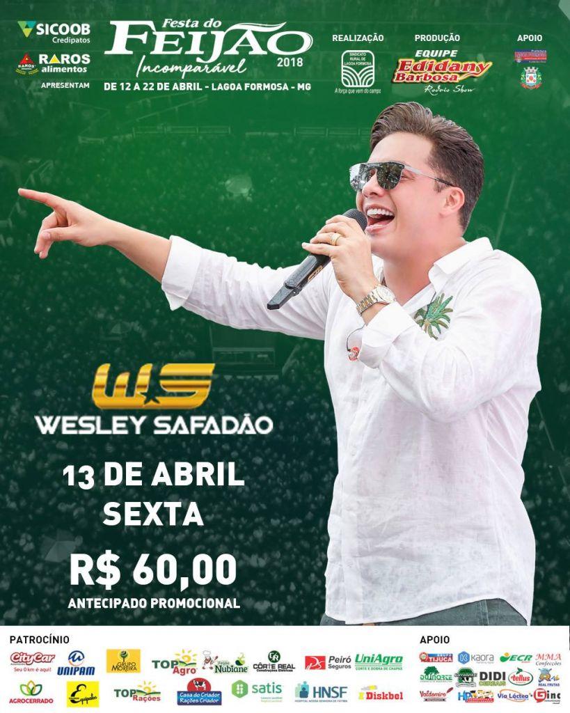Wesley Safadão deve atrair grande público nessa sexta-feira na Festa do Feijão 2018