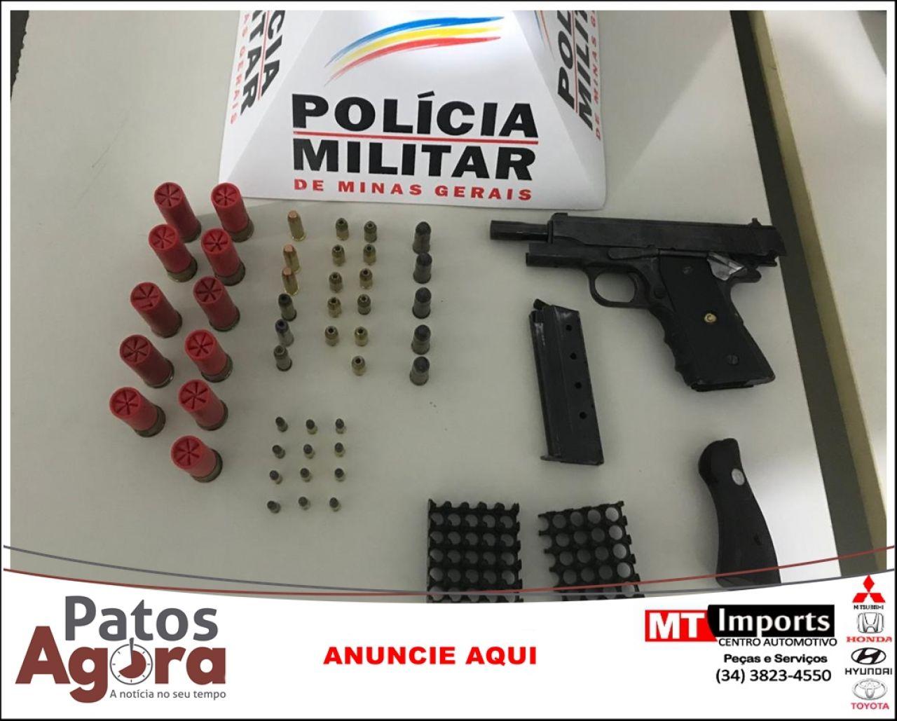 PM de Presidente Olegário apreende pistola e munições