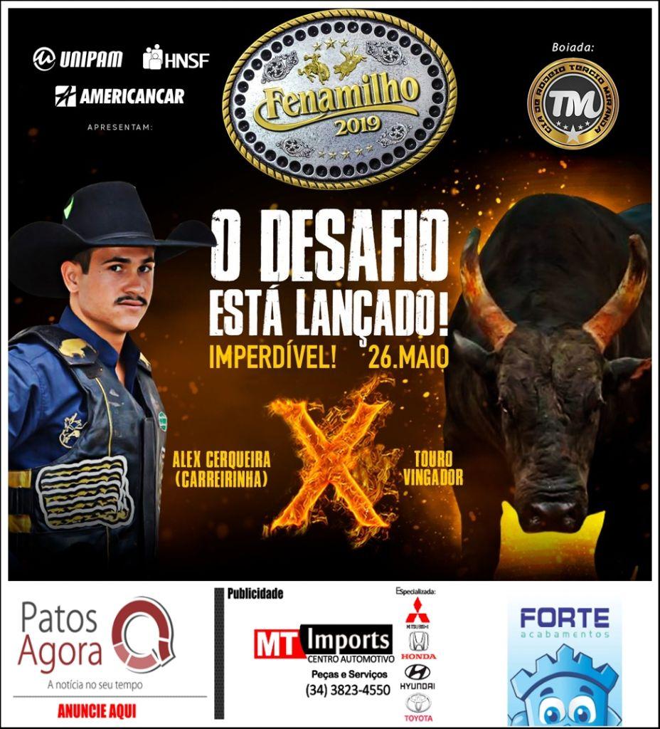 O maior desafio das arenas de rodeio brasileiras na Fenamilho 2019: Alex Cerqueira enfrenta touro Vingador