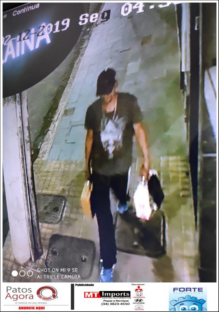 PM procura  homem que furtou loja no Centro durante a madrugada