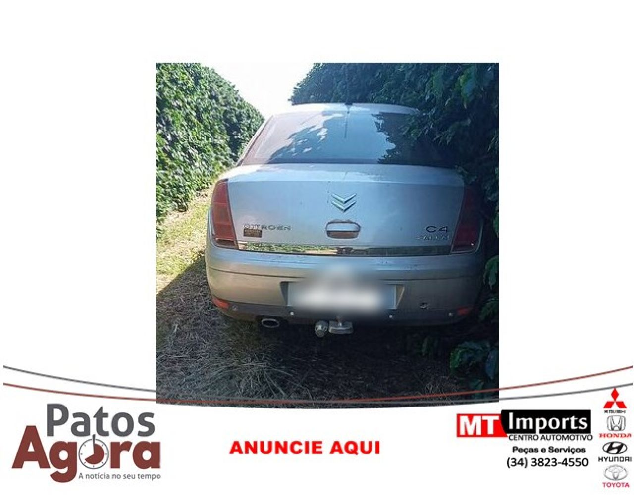 PM localiza carro roubado em cafezal; um dos bandidos estava armado com uma pistola