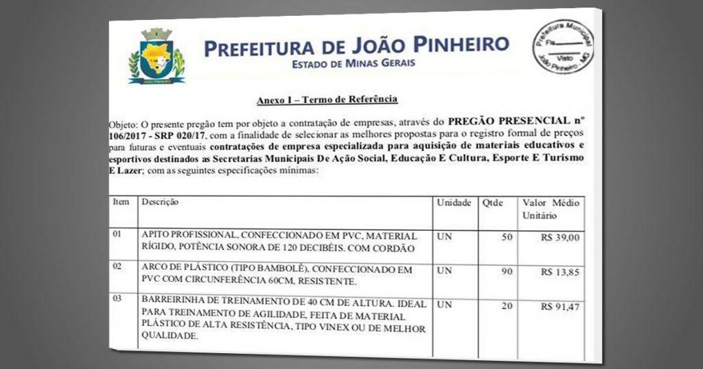 Morador de João Pinheiro diz que Prefeitura estipula preços altos de materiais esportivos em licitação