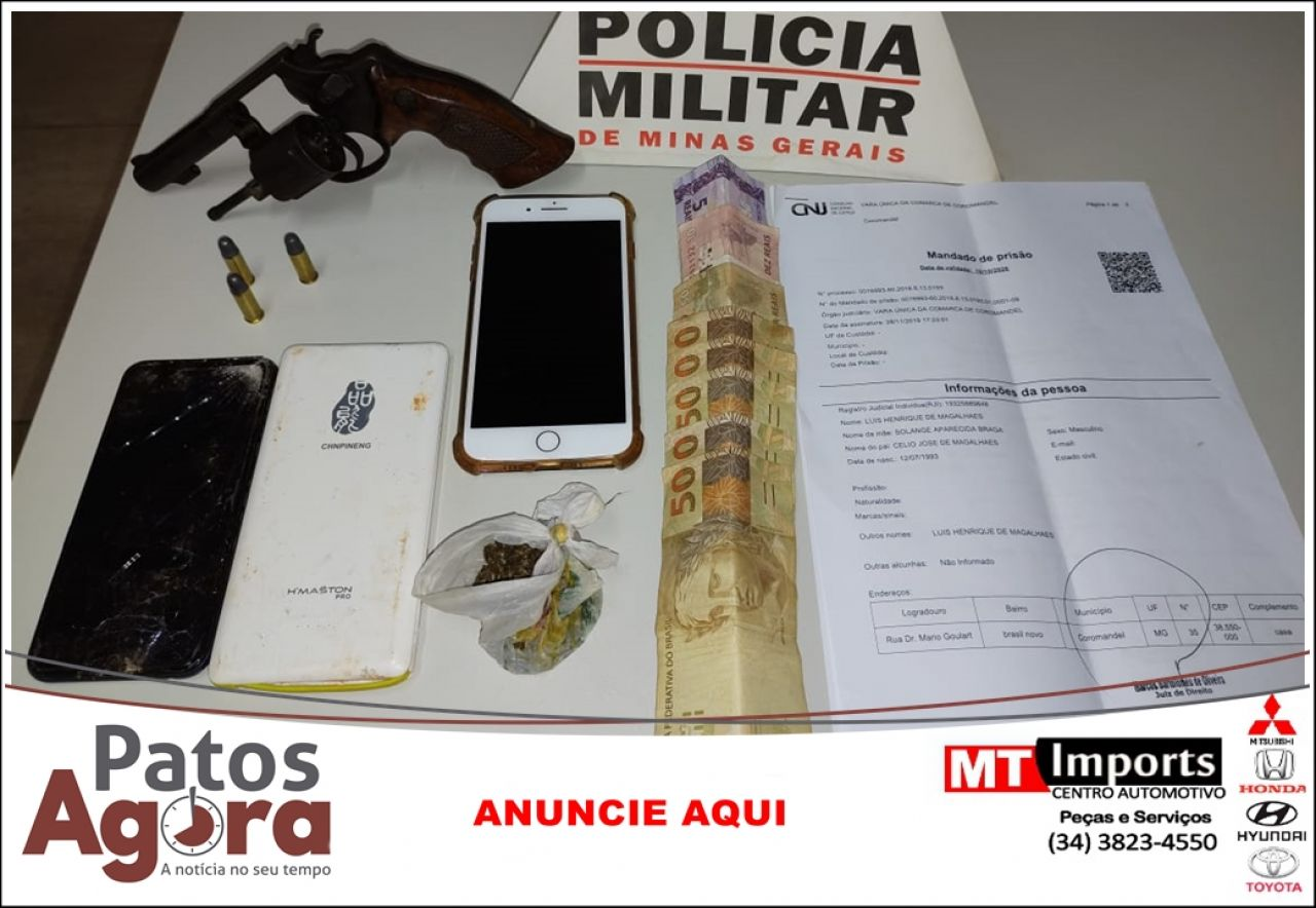 Homem apontado como líder do tráfico em Coromandel é preso com arma de fogo carregada