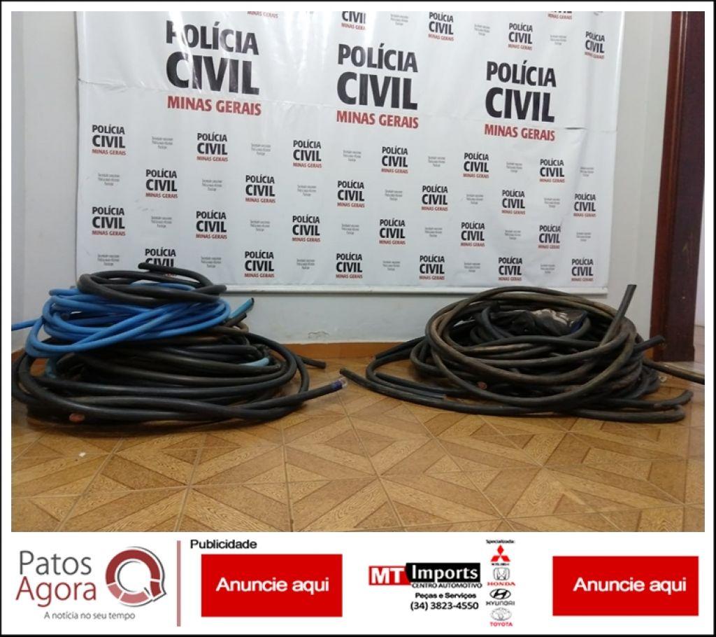 Polícia Civil recupera vários metros de fio de cobre furtados e cinco pessoas vão parar na delegacia
