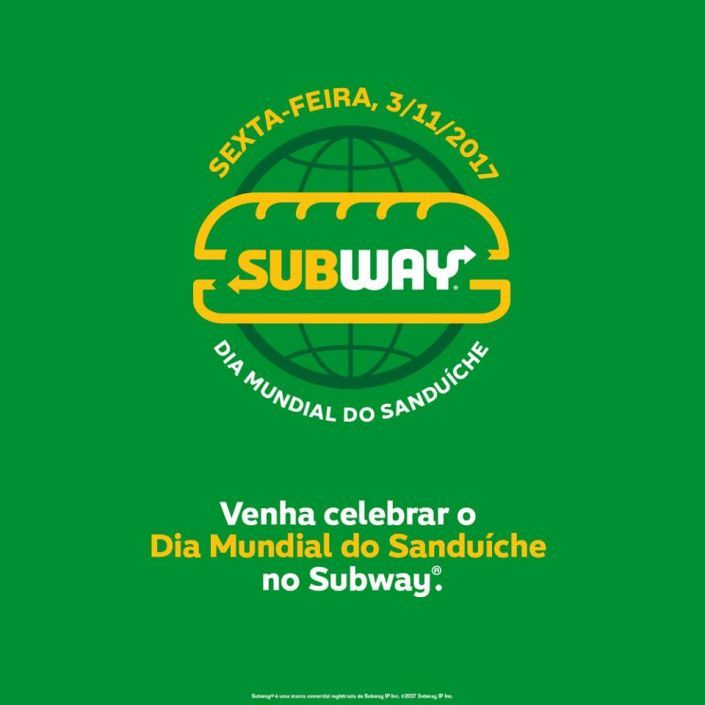 Venha celebrar  o dia mundial do sanduíche no subway.