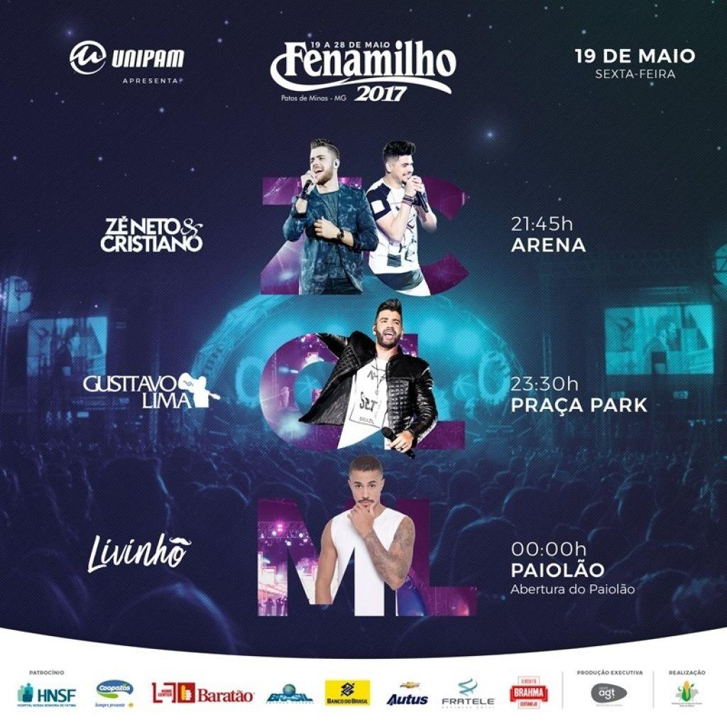 Fenamilho 2017 começa  com shows de Zé Neto e Cristiano, Gusttavo Lima e MC Livinho