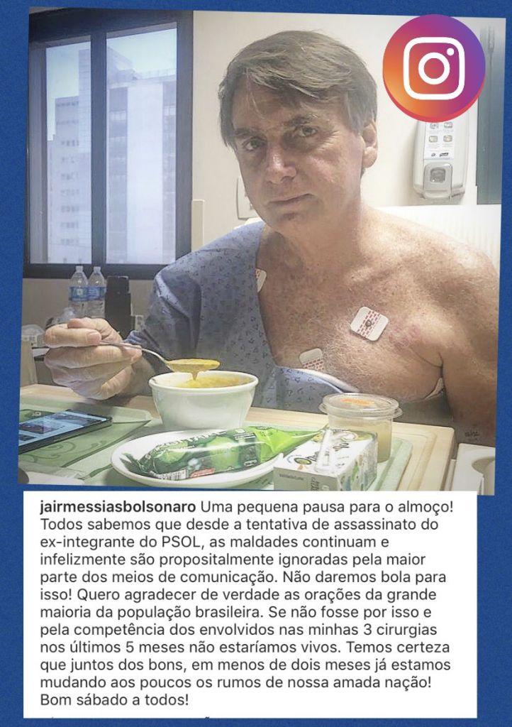 Bolsonaro divulga foto almoçando e agradece orações
