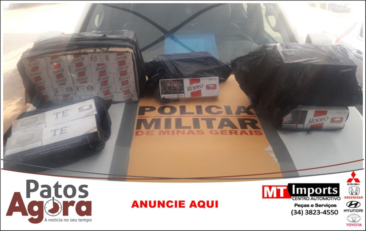 PM Rodoviária aborda veículo e localizada 590 maços de cigarros contrabandeados