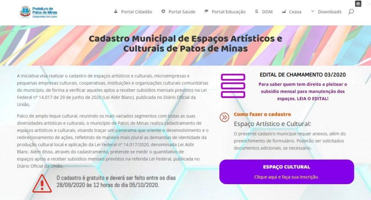 Prefeitura reabre cadastro de espaços culturais para acesso à verba da Lei Aldir Blanc