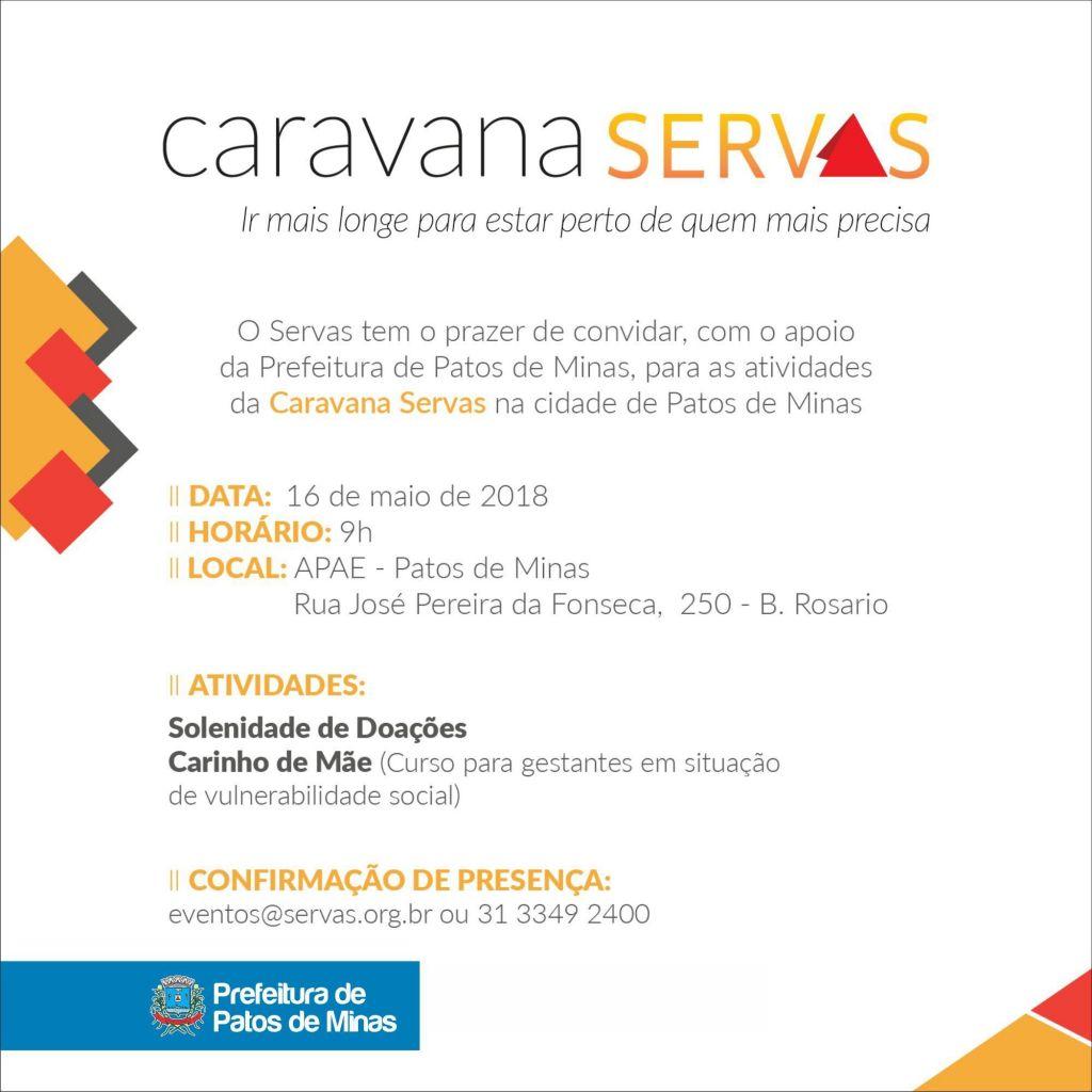 Caravana Servas chega a Patos de Minas nesta quarta-feira