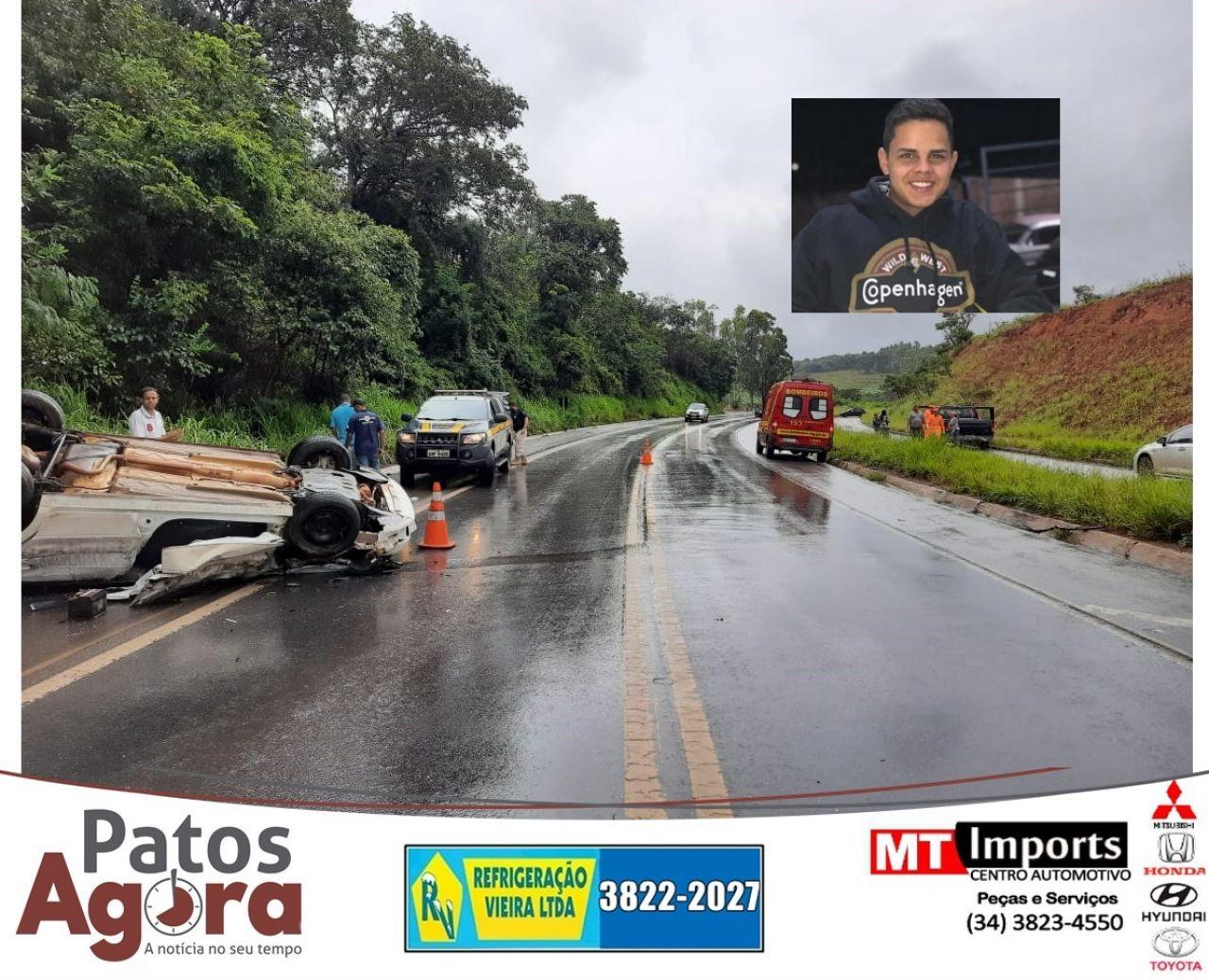 Jovem de 17 anos morre em acidente na Curva dos Moreiras na BR-365