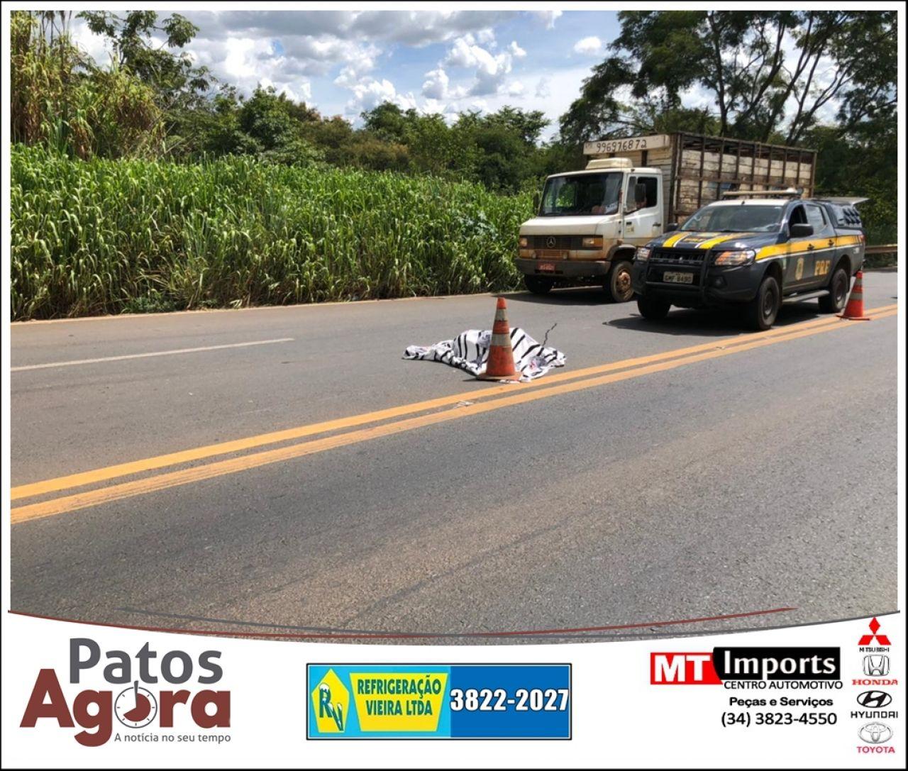 Homem morre ao ser atropelado por carreta na BR 365