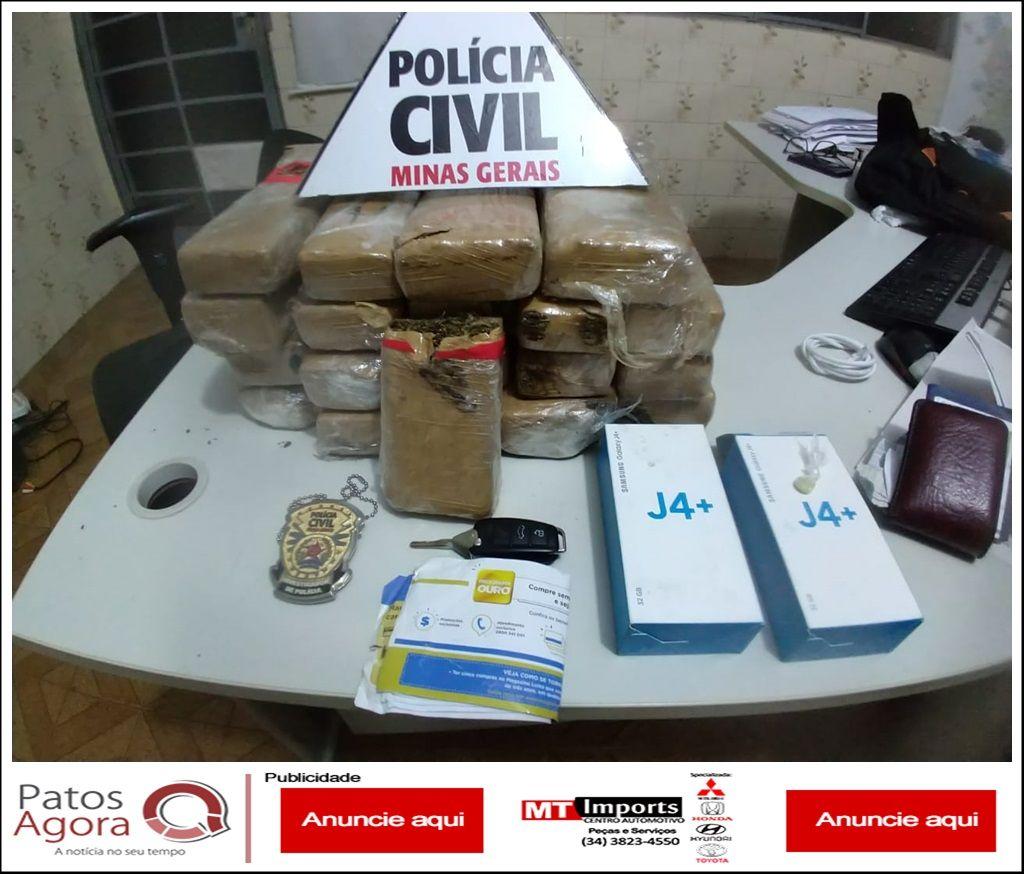 Polícia Civil de Patos de Minas apreende grande quantidade de maconha que saiu de Uberlândia