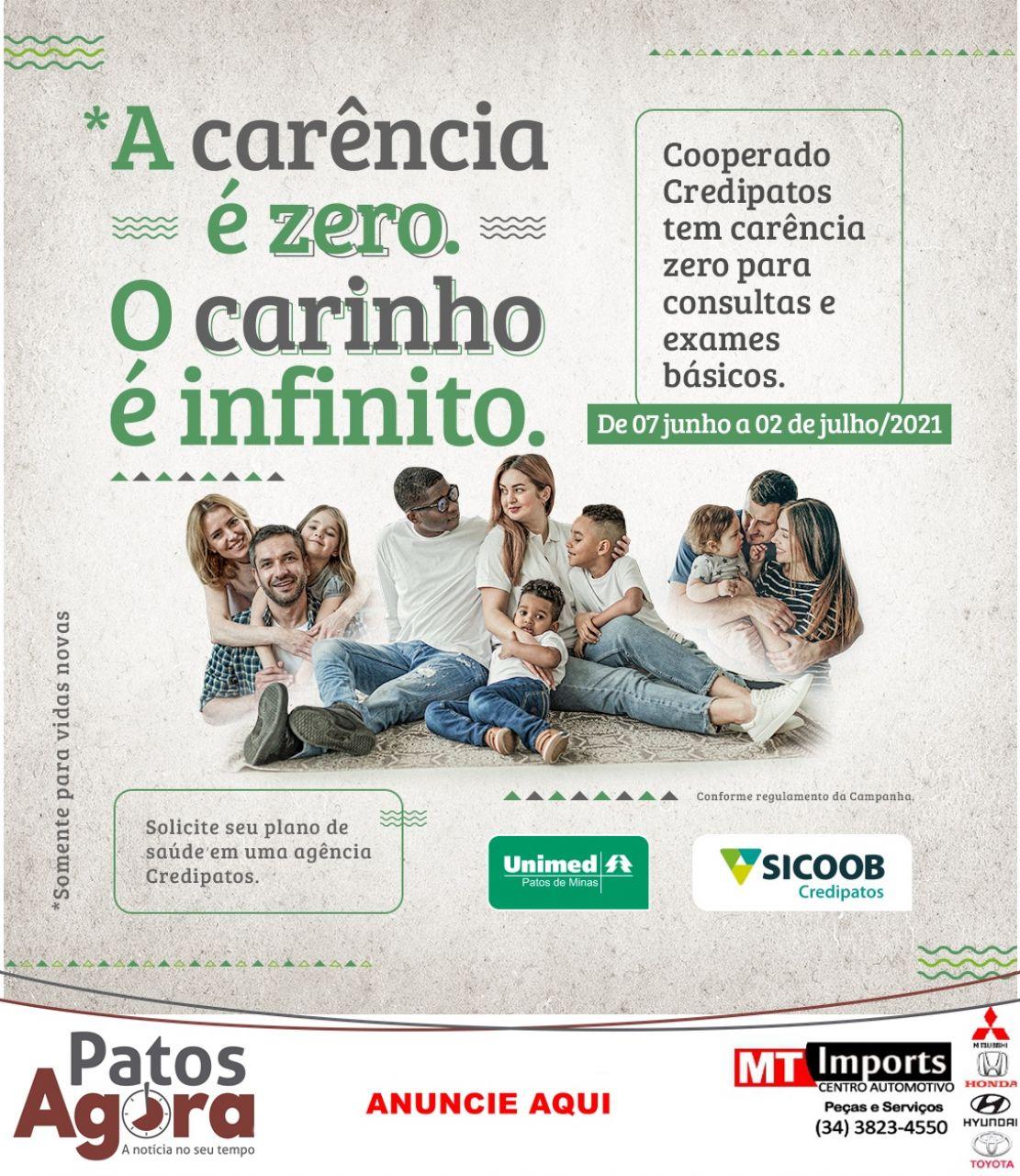 Sicoob Credipatos oferece *carência zero em Plano de Saúde Unimed