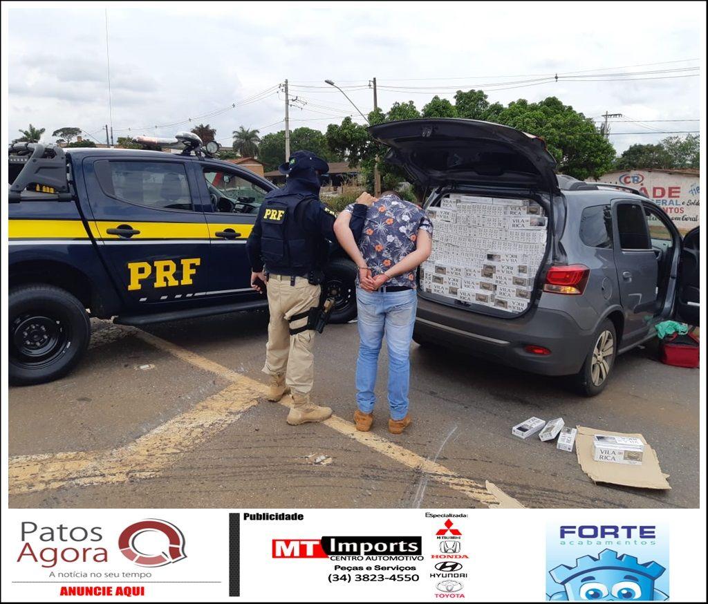 PRF apreende mais de 23 mil maços de cigarros contrabandeados durante fiscalização próxima ao trevo de Patos de Minas