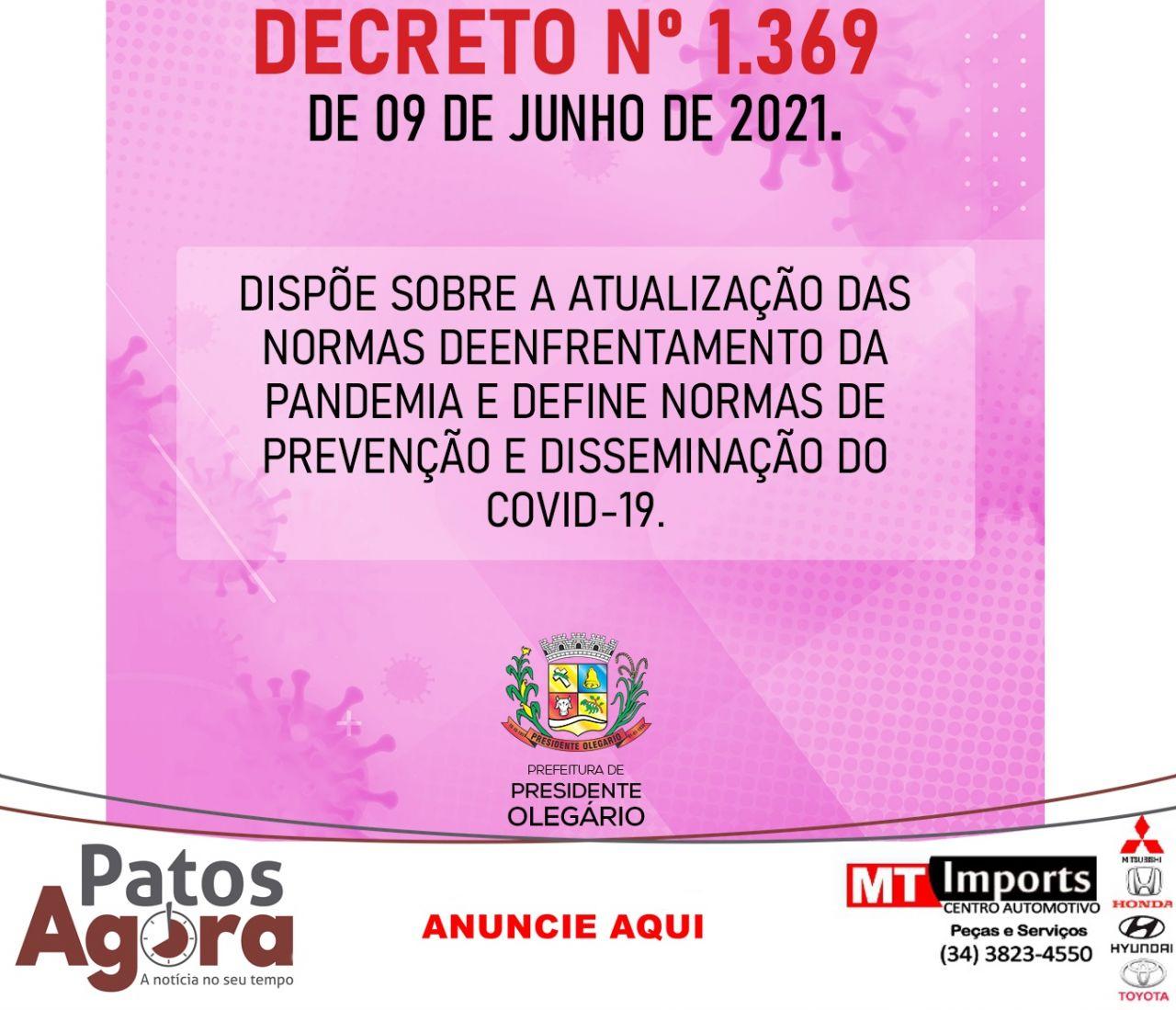 Prefeitura de Presidente Olegário publica decreto proibindo a venda de bebida alcoólica após as 22h