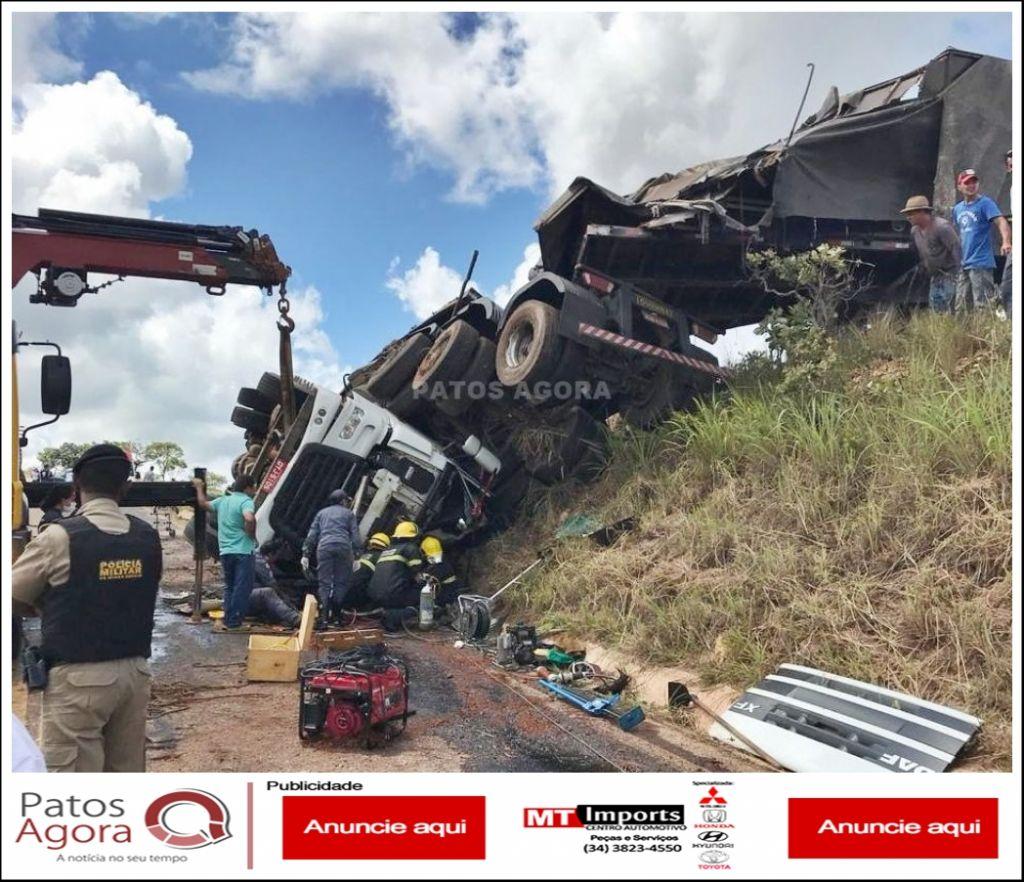 Motorista de Bitrem morre em grave acidente na MG-188