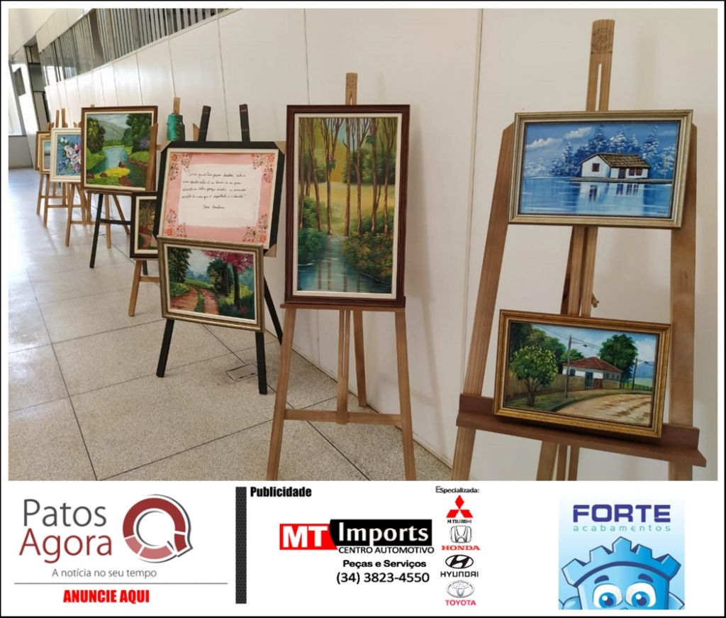 Hall do prédio da Cidade Administrativa de Patos de Minas recebe exposição artística