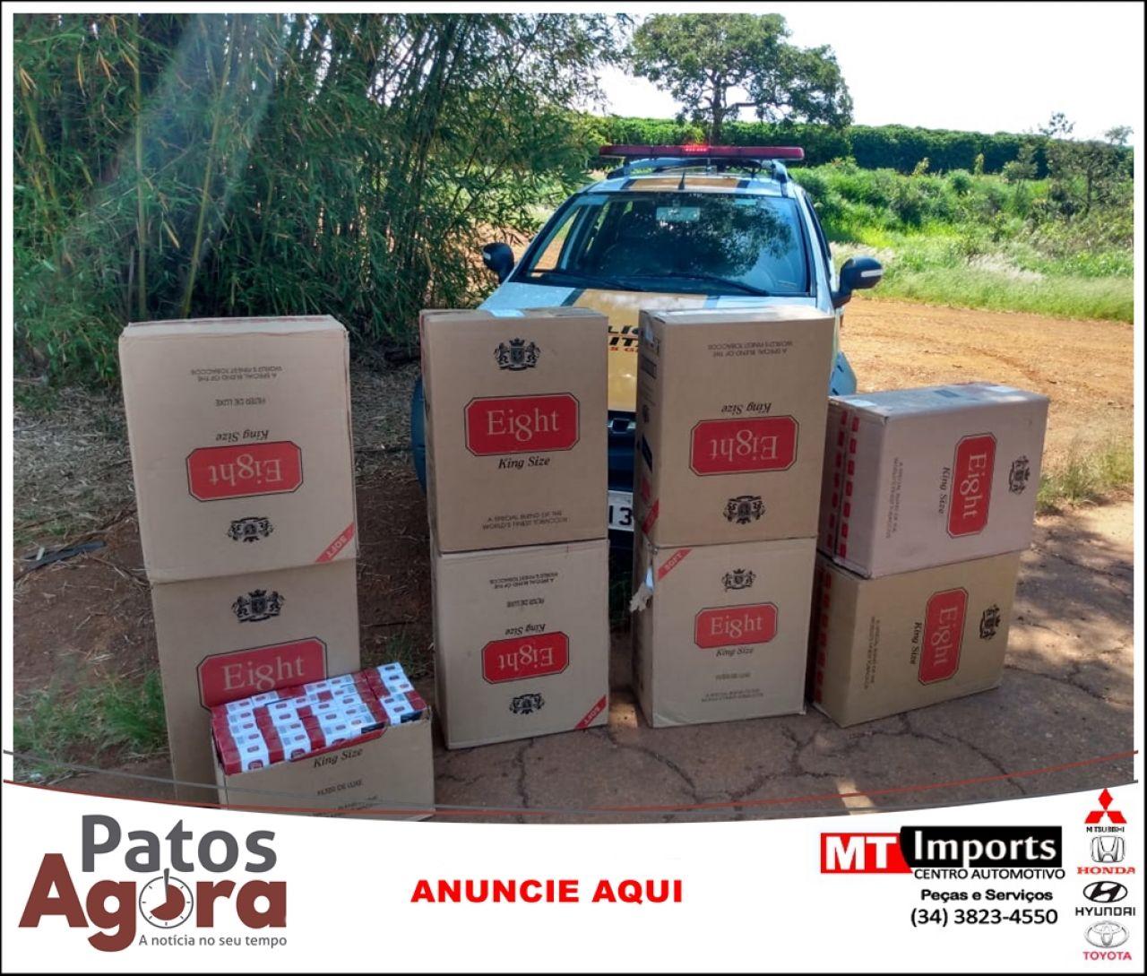 PM Rodoviária apreende 9 caixas de cigarros do Paraguai na rodovia MG 233
